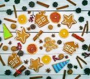 姜饼姜,甜点另外集合 圣诞节模式 是 图库摄影