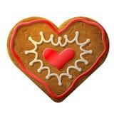姜饼心脏装饰的色的结冰 库存照片
