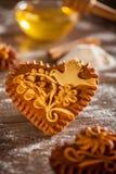 姜饼心脏 免版税库存图片