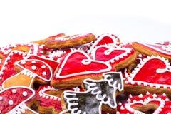 姜饼曲奇饼心脏 免版税库存图片
