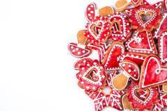 姜饼曲奇饼星和心脏 库存图片