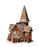 姜饼曲奇饼被隔绝的圣诞节房子 库存图片