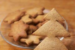 姜饼曲奇饼 形状星号人字形 准备好点心 免版税库存图片