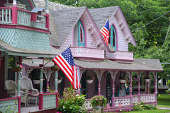 姜饼村庄,马莎` s葡萄园, MA,美国 免版税库存图片