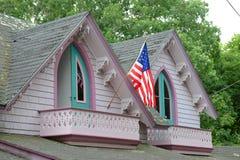 姜饼村庄,马莎` s葡萄园, MA,美国 免版税库存照片