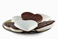 姜饼重点用巧克力-在白色的特写镜头 库存照片