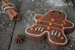 姜饼,圣诞节装饰品,杉树,在木背景,桂香的雪, 免版税图库摄影
