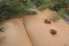 姜饼,圣诞节装饰品,杉树,在木背景,桂香的雪, 库存照片