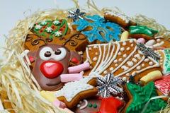 姜饼 驯鹿曲奇饼 圣诞节甜点是手工制造的在一个美好的包裹 免版税库存照片