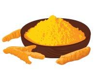 姜黄根和粉末在一个碗在白色背景 库存例证