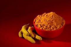 姜黄粉末和根 库存照片