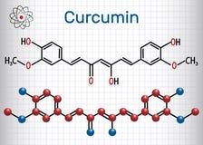 姜黄素分子 纸片在笼子的 结构化学制品 向量例证