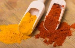 姜黄和红色辣椒粉 免版税库存图片