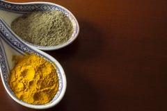 姜黄和黑胡椒 库存照片