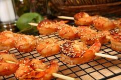 姜kebabs虾teriyaki 免版税图库摄影