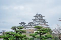 姬路城在日本,也称白色苍鹭城堡 图库摄影
