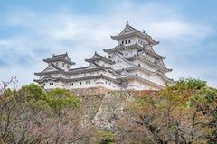 姬路城在日本,也称白色苍鹭城堡 免版税库存照片