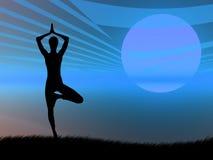 姿势日落瑜伽 向量例证
