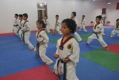 姿势训练跆拳道训练大厅 库存图片