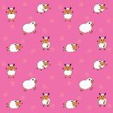 姿态动画片绵羊无缝的样式,传染媒介例证 免版税库存照片