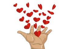 姿态开放棕榈 从被堆积的手飞行红色心脏 向量 免版税图库摄影