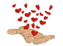 姿态开放棕榈 从被堆积的手飞行红色心脏 向量 库存图片