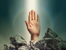 姿态-被举的手 免版税库存照片