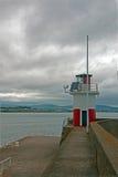 威克洛爱尔兰港口-跳船防堤墙壁和灯塔 免版税库存照片