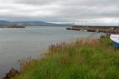 威克洛爱尔兰港口-跳船防堤墙壁和灯塔 库存照片