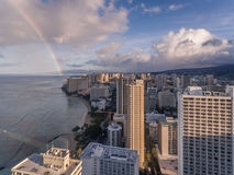 威基基夏威夷鸟瞰图有彩虹的 免版税库存图片