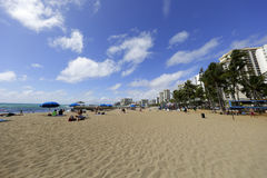 威基基海滩夏威夷假期目的地 免版税库存照片