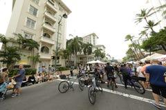 威基基海滩街道节日 免版税库存图片