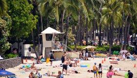 威基基海滩,奥阿胡岛,夏威夷 免版税库存图片