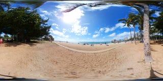 威基基海滩360 vr球形图像 免版税库存照片