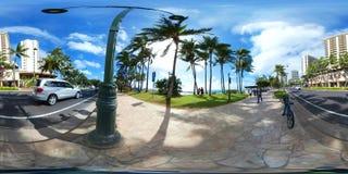威基基海滩360 vr球形图像 库存图片