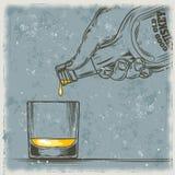 威士忌酒和玻璃的传染媒介例证 库存例证