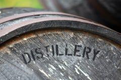 威士忌酒或波旁酒的老化桶 库存图片