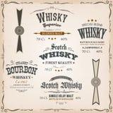 威士忌酒标签和封印在葡萄酒背景 库存照片