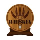 威士忌酒桶,优质质量 麦子花圈,平的样式 木头 免版税库存照片