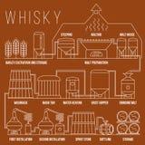 威士忌酒生产过程传染媒介infographic模板 向量例证