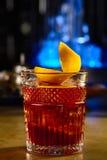威士忌酒用桔子和冰 免版税图库摄影