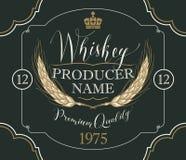 威士忌酒的标签与大麦的耳朵 库存例证