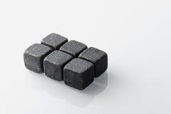 黑威士忌酒石头被设置6 免版税库存图片
