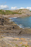 威尔士海岸秋天海湾Gower半岛英国近对罗西里海滩和Mewslade海湾 图库摄影