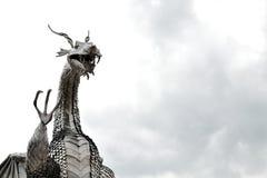 威尔士金属龙雕塑 免版税图库摄影
