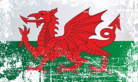 威尔士,英国的旗子 起皱纹的肮脏的斑点 皇族释放例证
