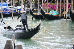 威尼斯伟大的运河长平底船 图库摄影