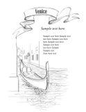 威尼斯古老大厦和运河有长平底船的 向量例证