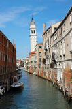 威尼斯圣・ Giorgio dei Greci Belltower 免版税库存图片