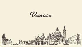 威尼斯地平线传染媒介例证被画的剪影 库存照片